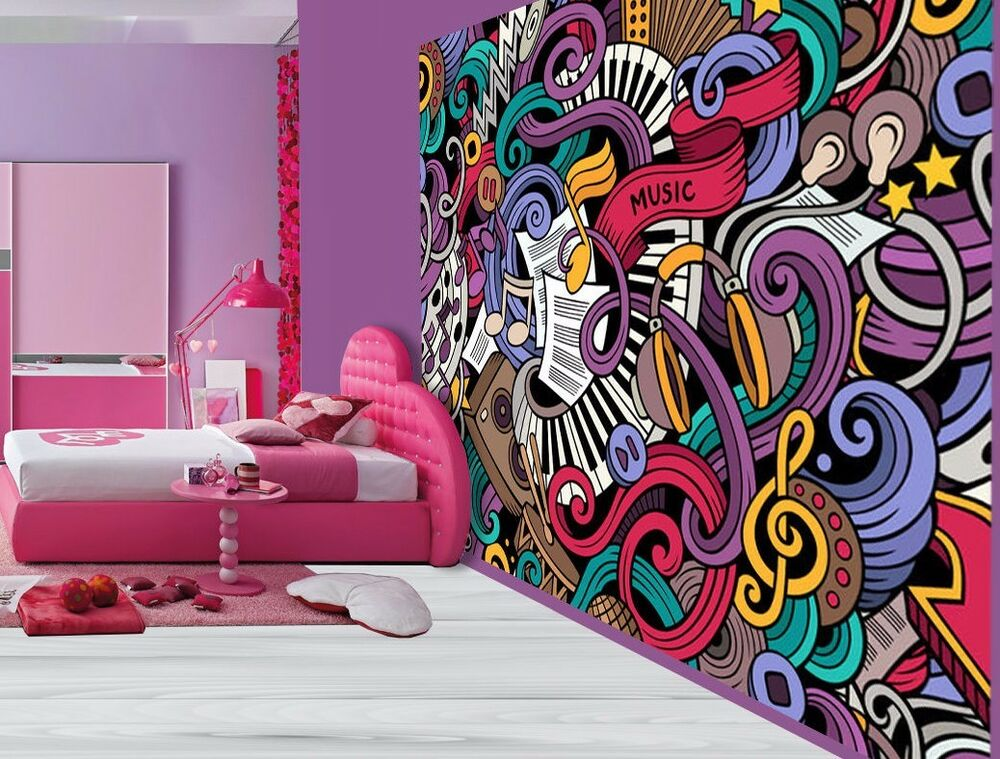 Cool graffiti sticker bomb music notes keyboard wallpaper wall mural 49422105 ebay - Music note wallpaper for walls ...