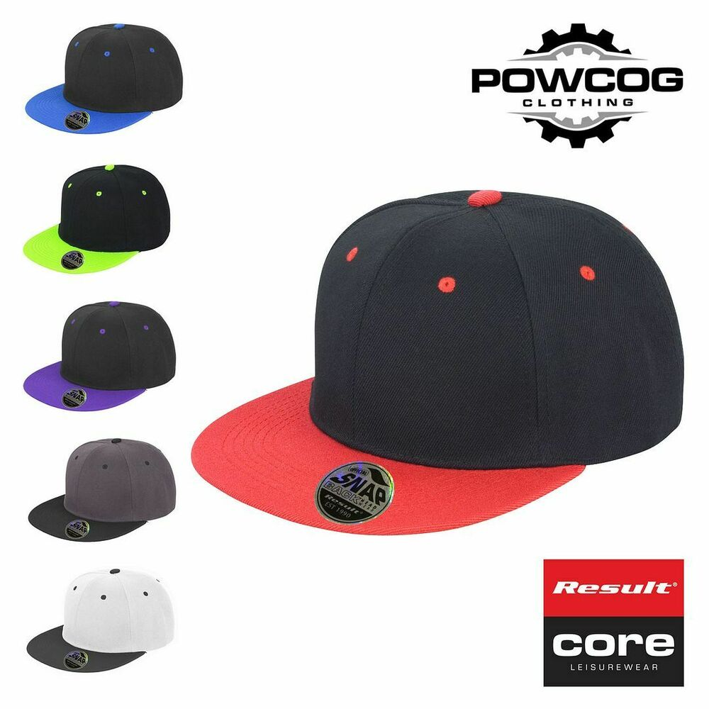 10f78e9004f Details about Result Core Plain Bronx Original Flat Peak Snap Back Dual  Colour Baseball Cap