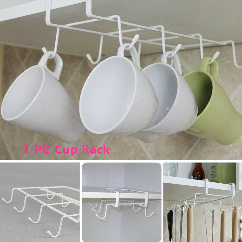 kitchen cup mug storage rack cupboard organizer hooks