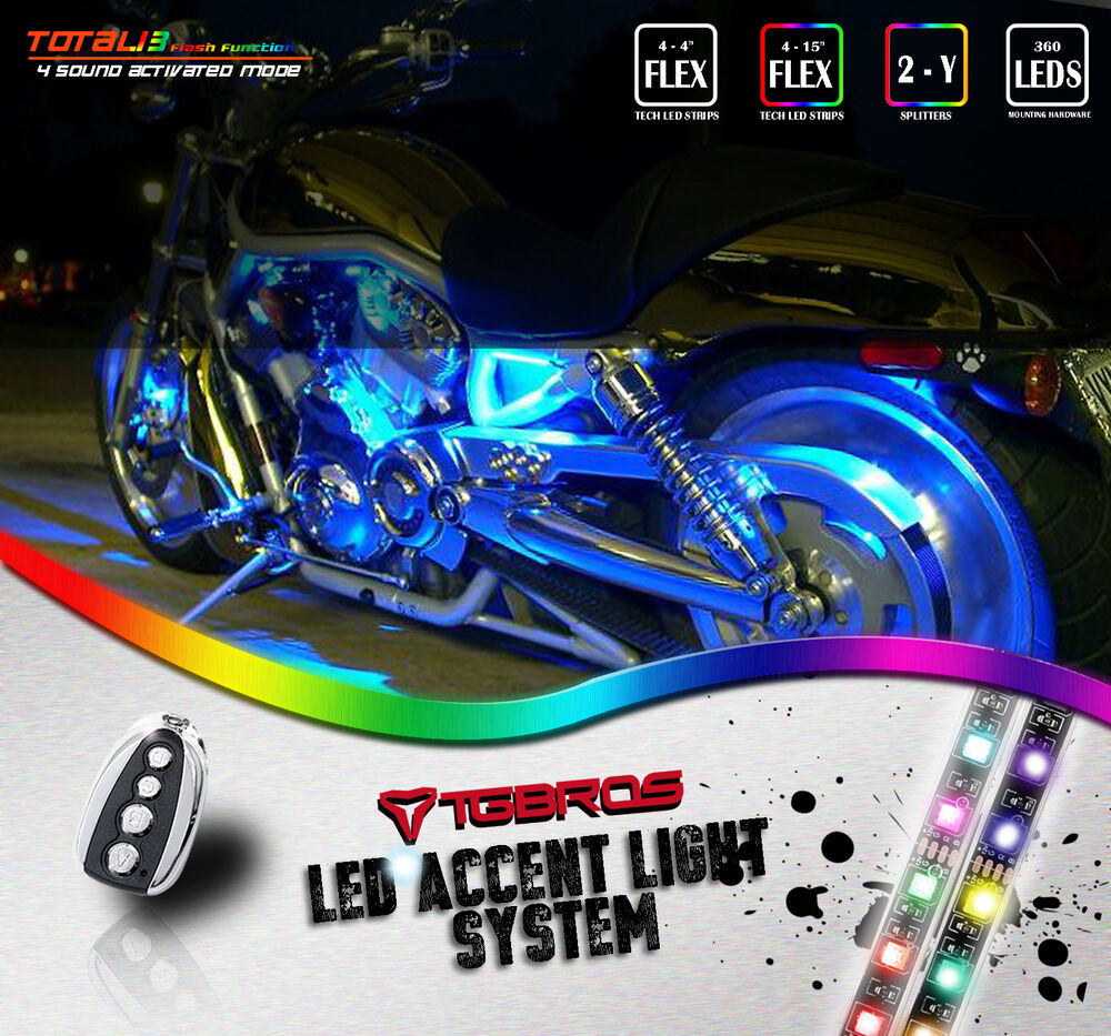 8x Led Underglow Accent Light Strip Kit 7 Colors For