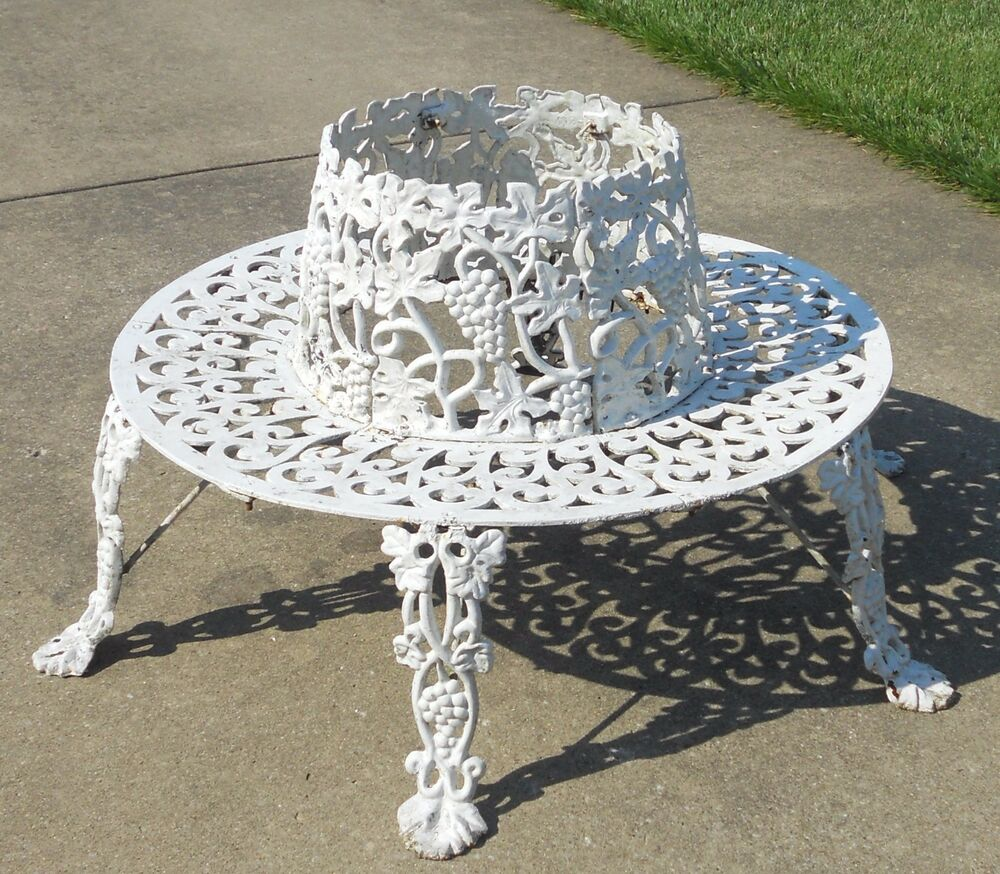Victorian Antique Ornate Cast Iron Tree Surround Garden Bench Grapes Vines Vtg Ebay