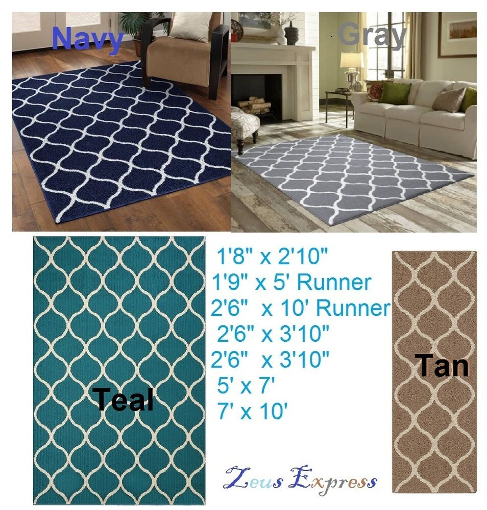 Modern Geometric Carpet Abstract Tile Area Runner Rug
