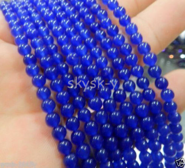Wholesale 5 Strands 4mm Blue Sapphire Gemstone Round Loose Beads 15
