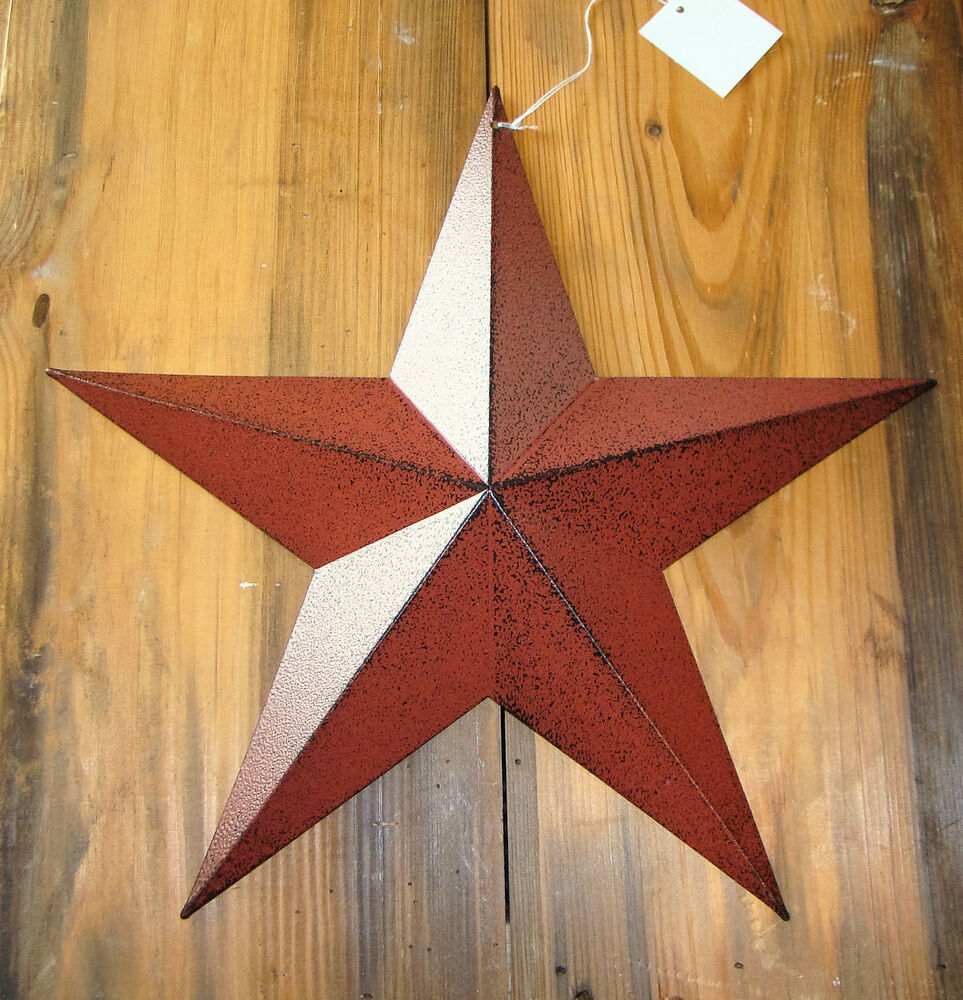 rustic primitive burgundy tin 12 barn star country home decor farmhouse charm ebay. Black Bedroom Furniture Sets. Home Design Ideas