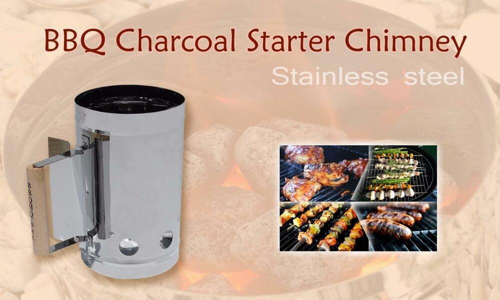 Charcoal bbq fire starter chimney never rusts stainless