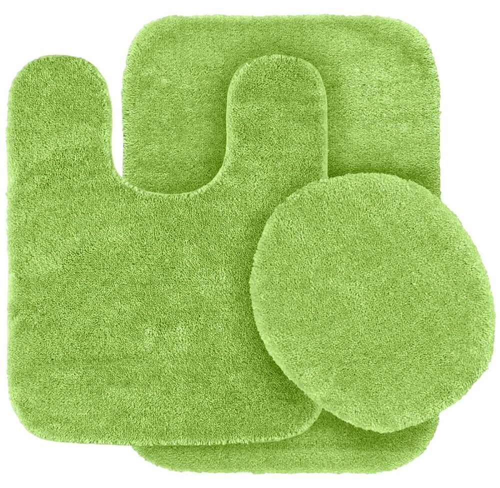 Solid Bath Rug Contour Mat Toilet Lid Cover Bathroom Set