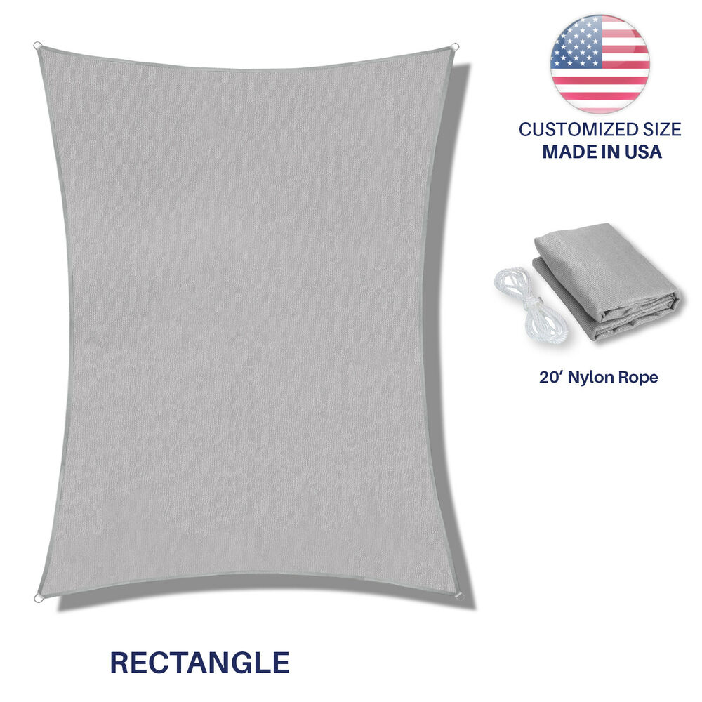 Sun Shade Sail Light Gray Custom Size Rectangle Fabric