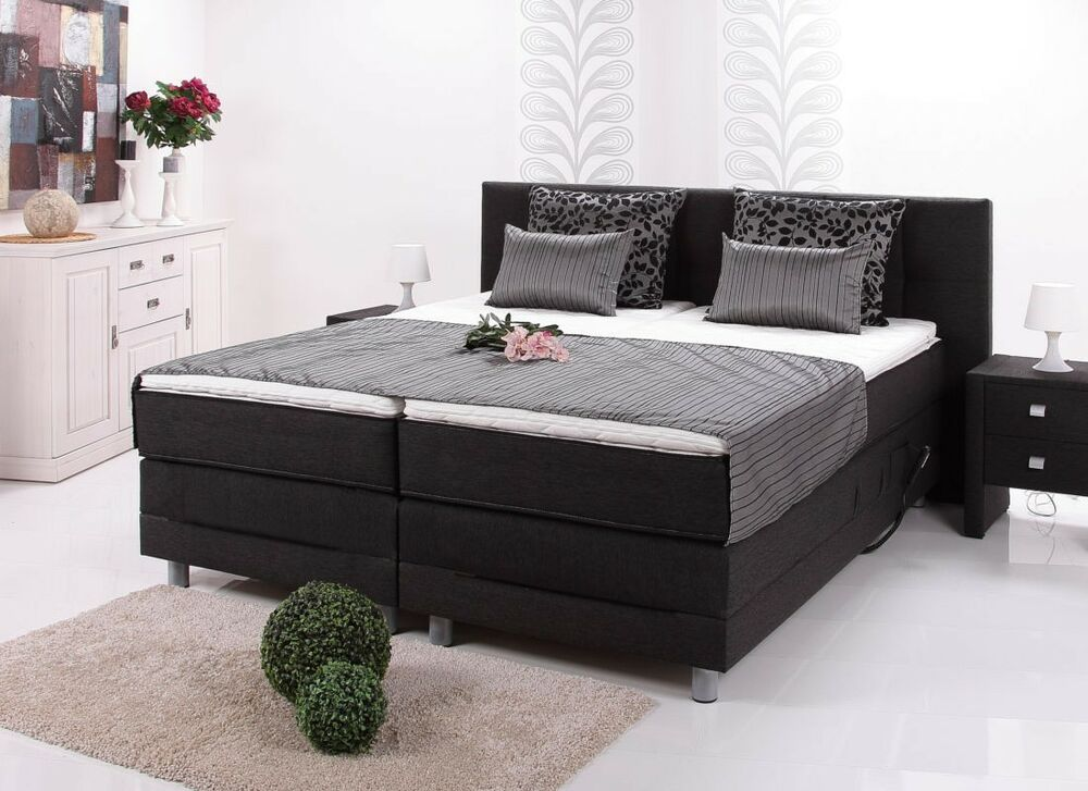 boxspringbett 180x200cm elektrisch mit motor inkl 2 topper hotelbett doppelbett ebay. Black Bedroom Furniture Sets. Home Design Ideas