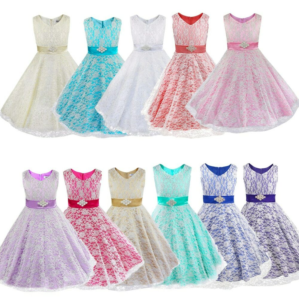 Flower girl lace wedding party birthday prom teenage for Teenage dress for wedding
