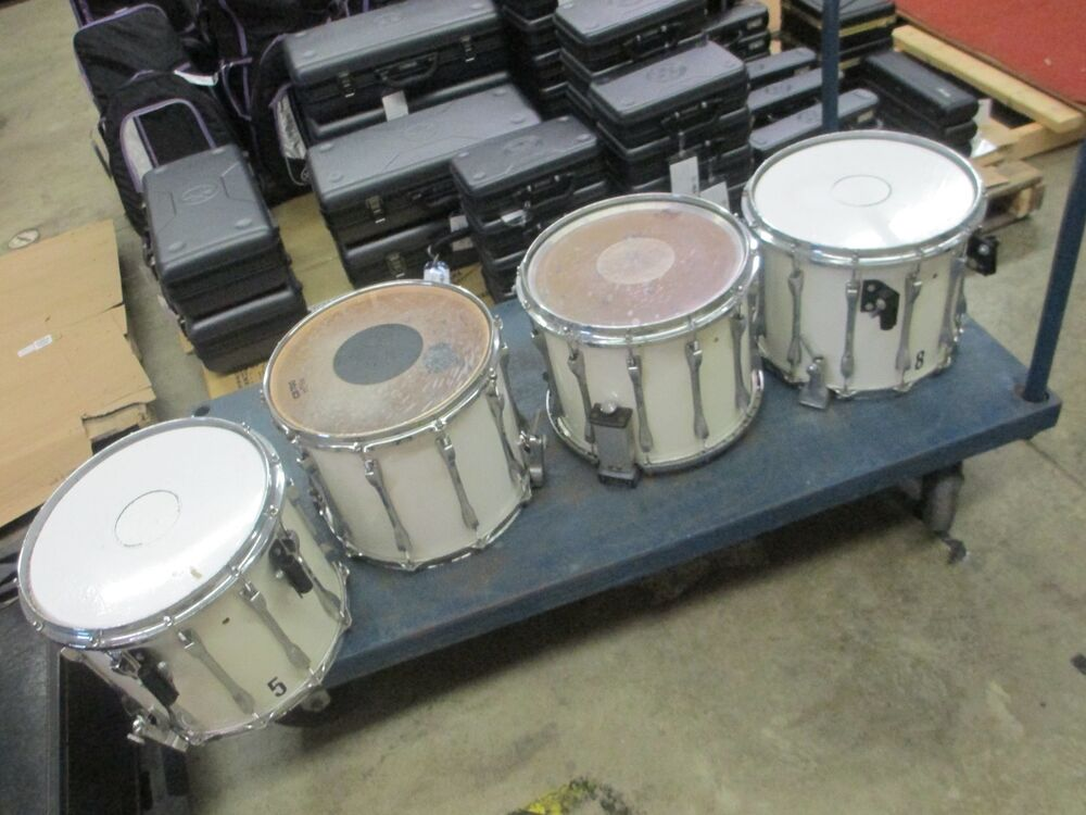 vintage ludwig 14 marching white snare drums set of 4 for parts and repair ebay. Black Bedroom Furniture Sets. Home Design Ideas