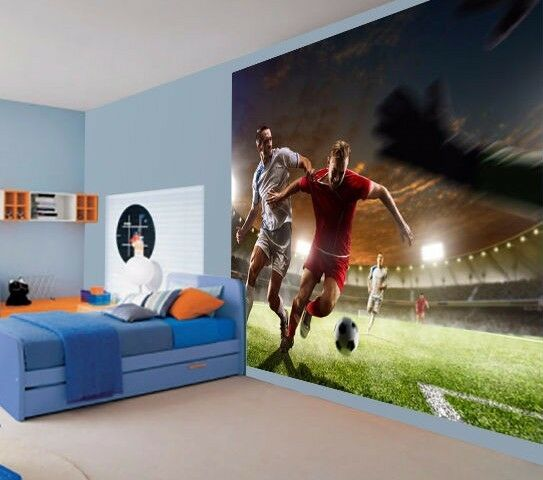 Cool football tackle soccer kids boys bedroom wallpaper for Boys mural wallpaper