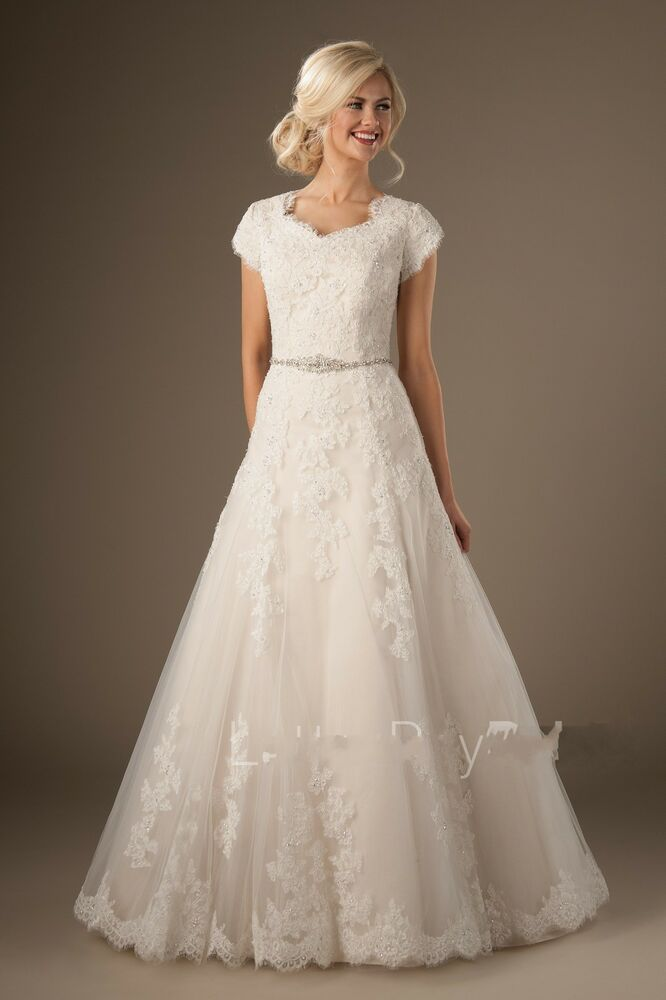 Modest lace short sleeve wedding dress garden bridal gown for Modest wedding dresses under 500