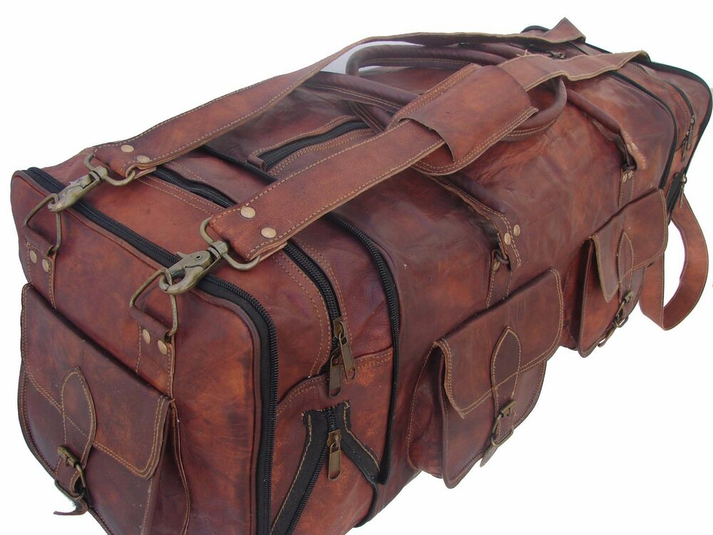 Leather travel bag duffel weekender large gym duffle overnight carry on luggage 716337226043 ebay for Leather luggage wheeled duffel