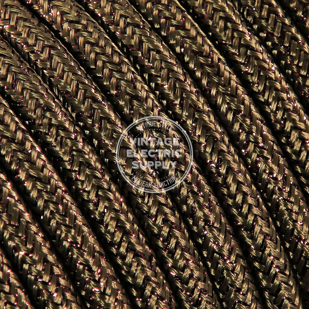 Brown Glitter Cloth Covered Electrical Wire Braided