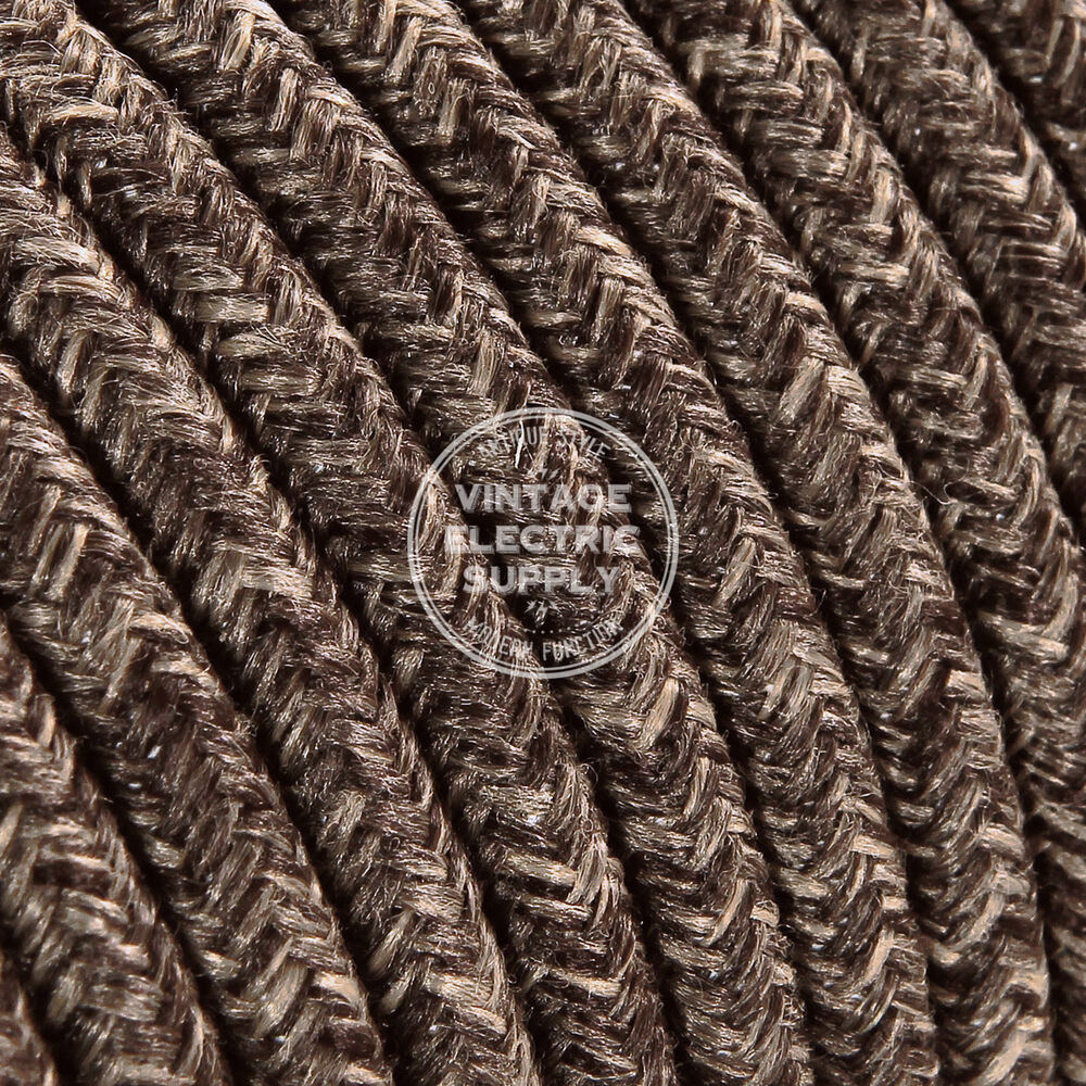 Brown Linen Round Cloth Covered Electrical Wire Braided