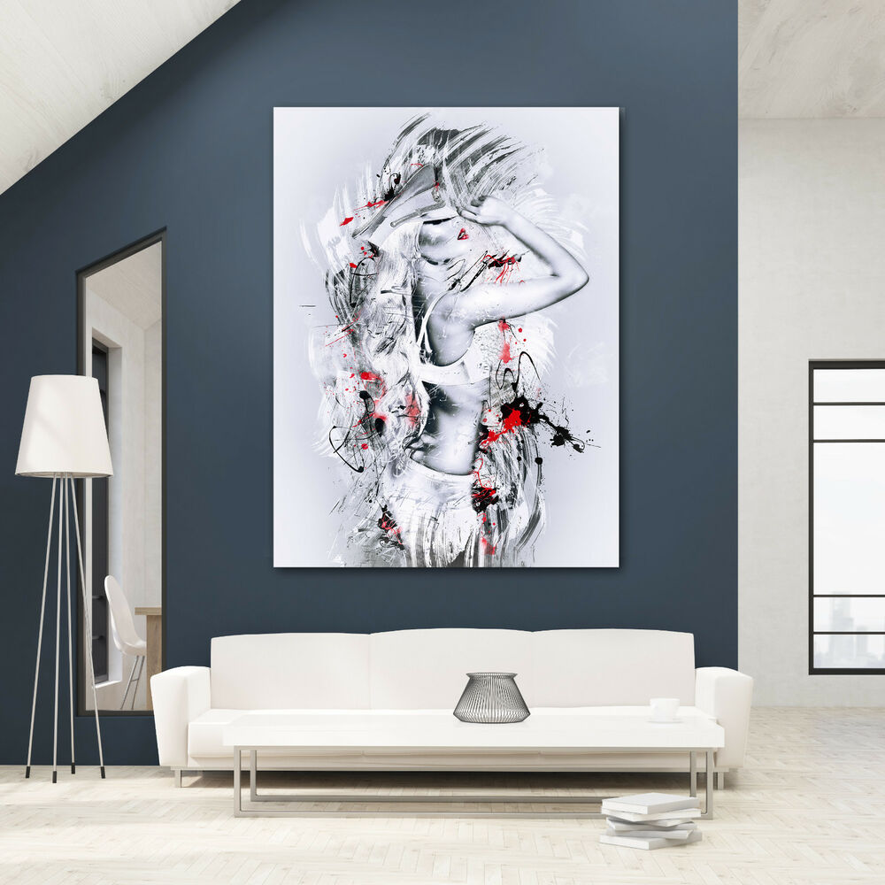 leinwand model frau sexy bild modern abstrakt poster xxl wandbild ebay. Black Bedroom Furniture Sets. Home Design Ideas
