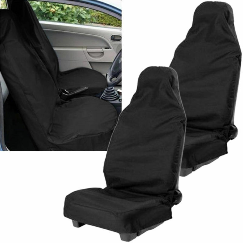 2x black universal front car seat covers van seat protection clean waterproof uk ebay. Black Bedroom Furniture Sets. Home Design Ideas