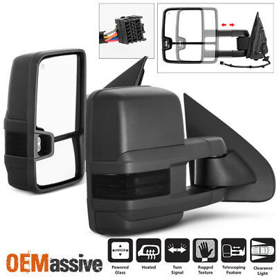 Fit 14-18 Chevy Silverado GMC Sierra Power Heated Smoked LED Side Towing Mirrors