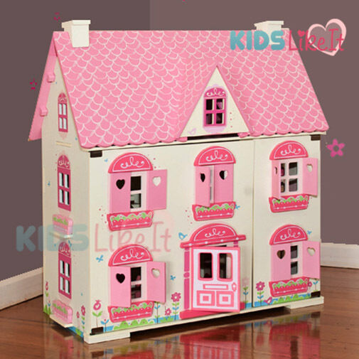Elc Rosebud Kids Girls Wooden Doll Dolls House Miniature Full Furniture Set Pink Ebay