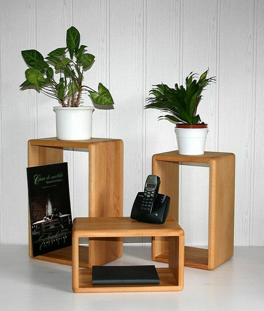 massivholz wandregale 3er set kernbuche massiv ge lt h ngeregal cd k chen regale ebay. Black Bedroom Furniture Sets. Home Design Ideas