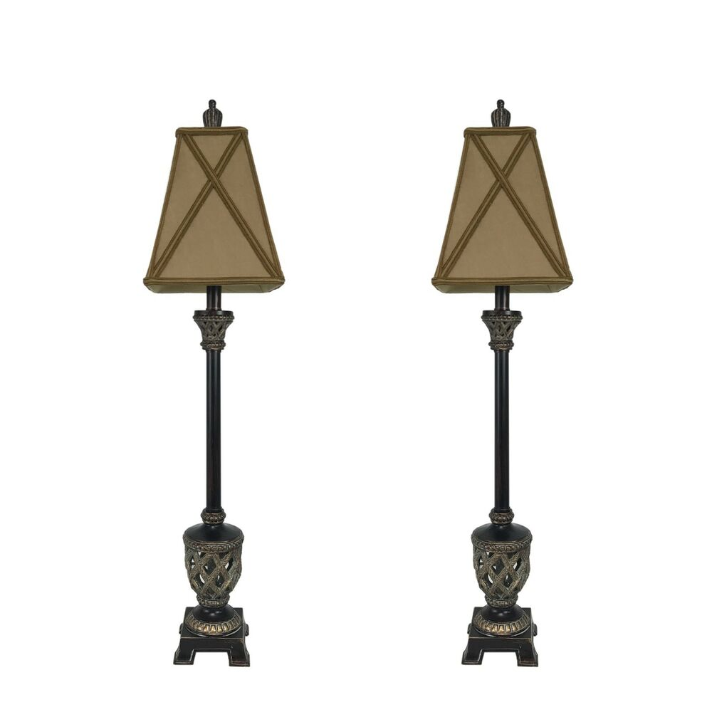 Set Of 2 35 Quot Traditional Bronze Buffet Lamps Table Lamp