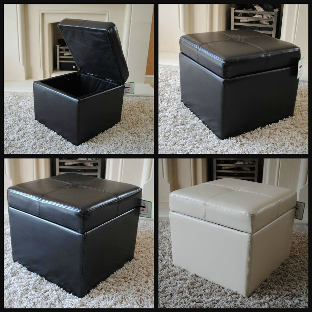 New Real Leather Brown Black Cream Ottoman Box Storage
