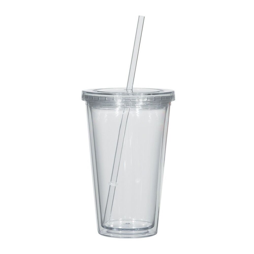 Cup With Lid : Oz clear double wall acrylic tumbler cup with lid
