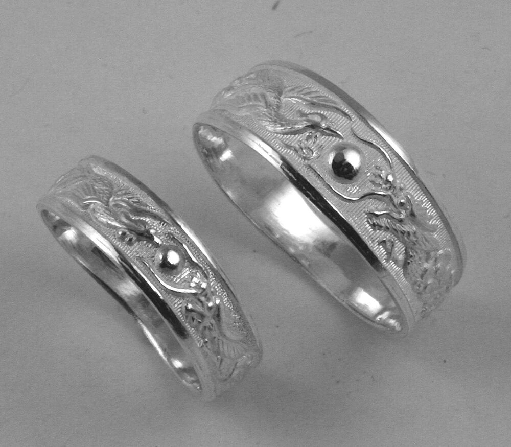 Sterling Silver Dragon Phoenix Rings Wedding Band Set