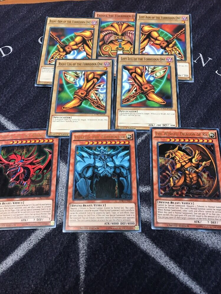 exodia egyptian god cards obelisk slifer ra 8 card set lot ldk2 yugioh ebay. Black Bedroom Furniture Sets. Home Design Ideas