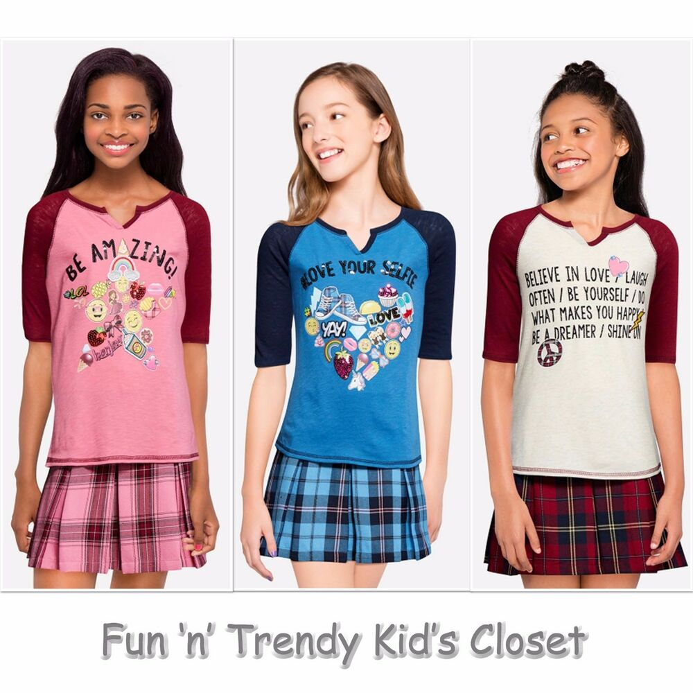 Nwt justice girls size 8 10 baseball tee shirt top plaid for Girls shirts size 8