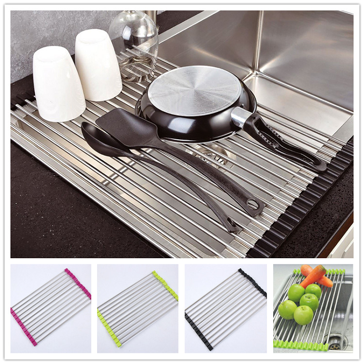 Over the sink kitchen dish drainer drying rack roll up foldinng stainless steel ebay - Kitchen sink drying rack ...
