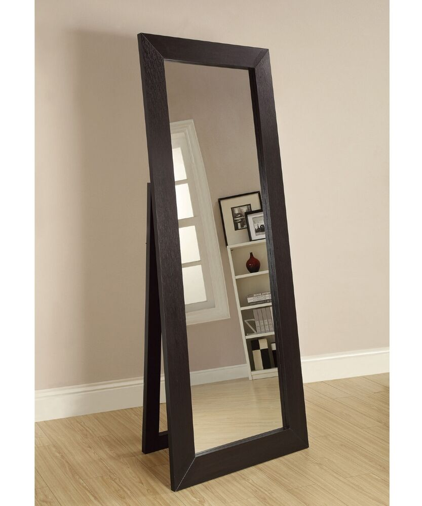 Details About Floor Mirror Full Length Standing Leaning Beveled Cheval Portable Wood Frame