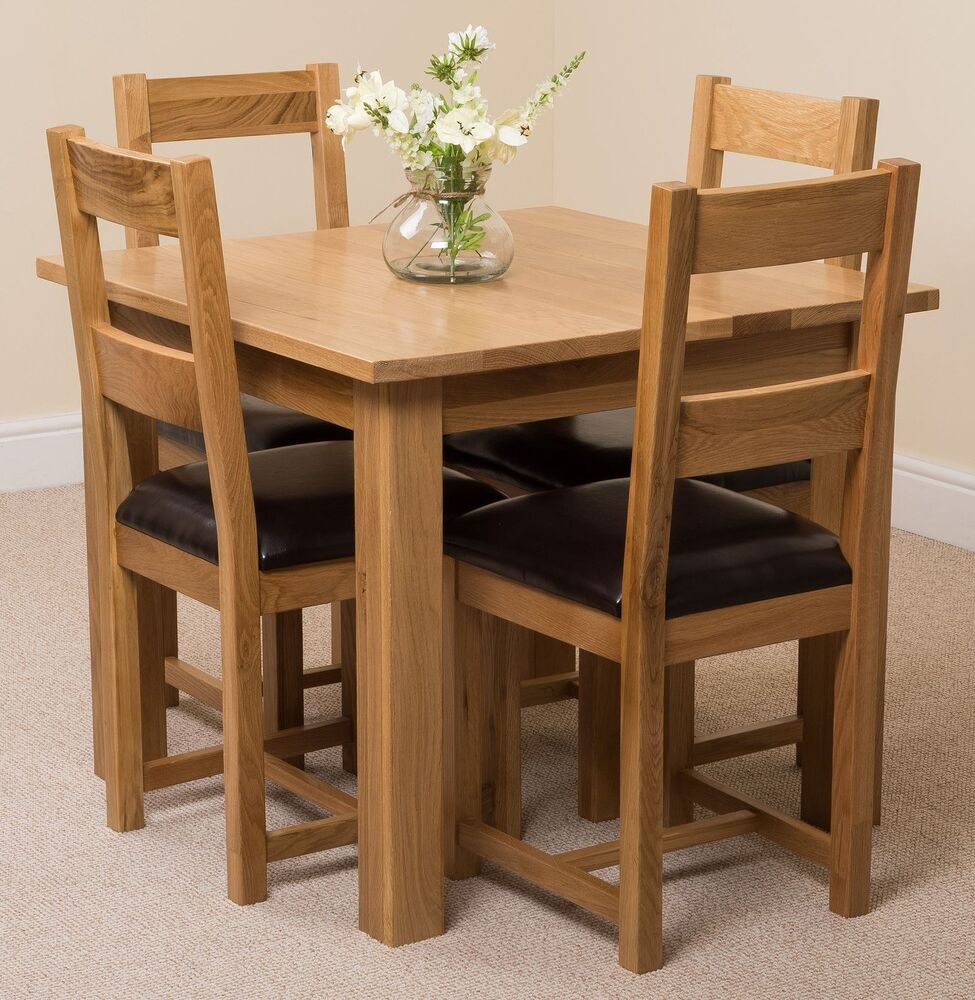 Square Dining Chairs: Oslo 90cm Square Kitchen Solid Oak Dining Table + 4