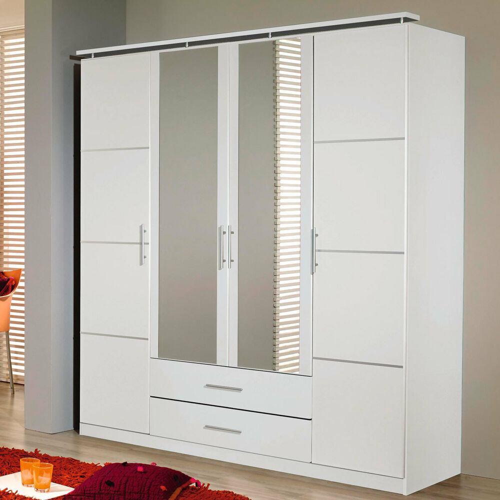 kleiderschrank micro schlafzimmer schrank 4 t rig alpinwei mit spiegel ebay. Black Bedroom Furniture Sets. Home Design Ideas