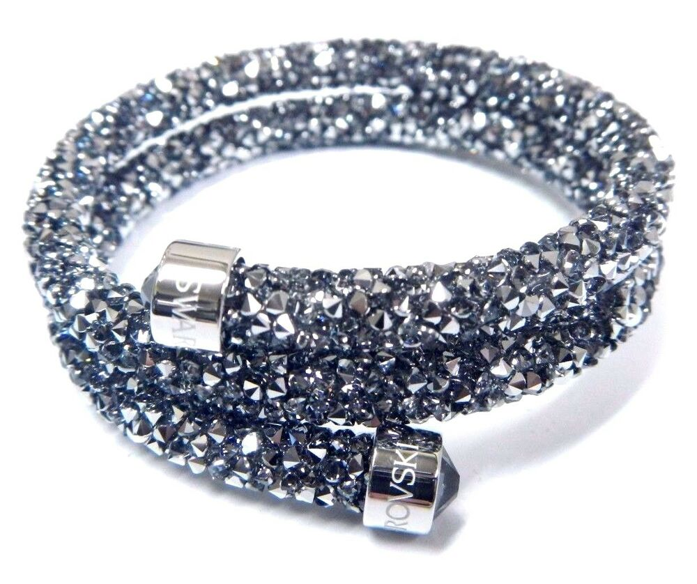gray crystaldust double bangle bracelet small 2016 swarovski jewelry 5255898 ebay. Black Bedroom Furniture Sets. Home Design Ideas