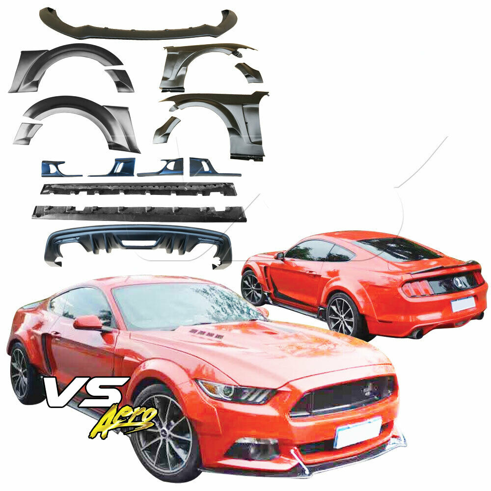 Details about vsaero frp ktot wide body kit for ford mustang 15 16
