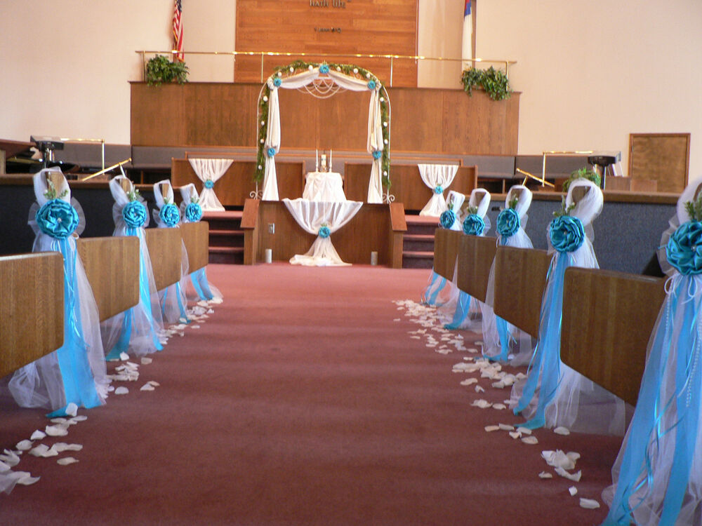 church bench decorations wedding set of 1o wedding decor chair bows pew bows turquoise 2941