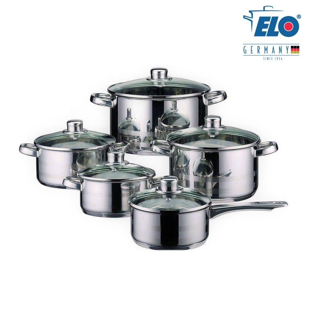 elo germany stainless steel 10 piece kitchen induction cookware pots and pan set ebay. Black Bedroom Furniture Sets. Home Design Ideas
