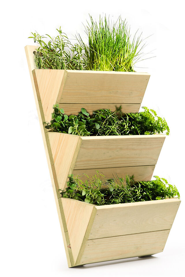 3 tier wooden shelf planter high quality wall hanging growhouse herb planter ebay. Black Bedroom Furniture Sets. Home Design Ideas