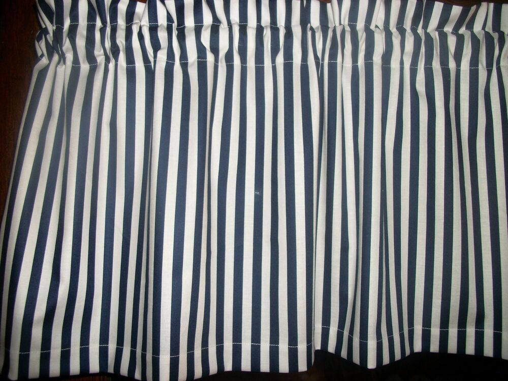 Navy Blue White Stripes Nautical Waverly Fabric Window