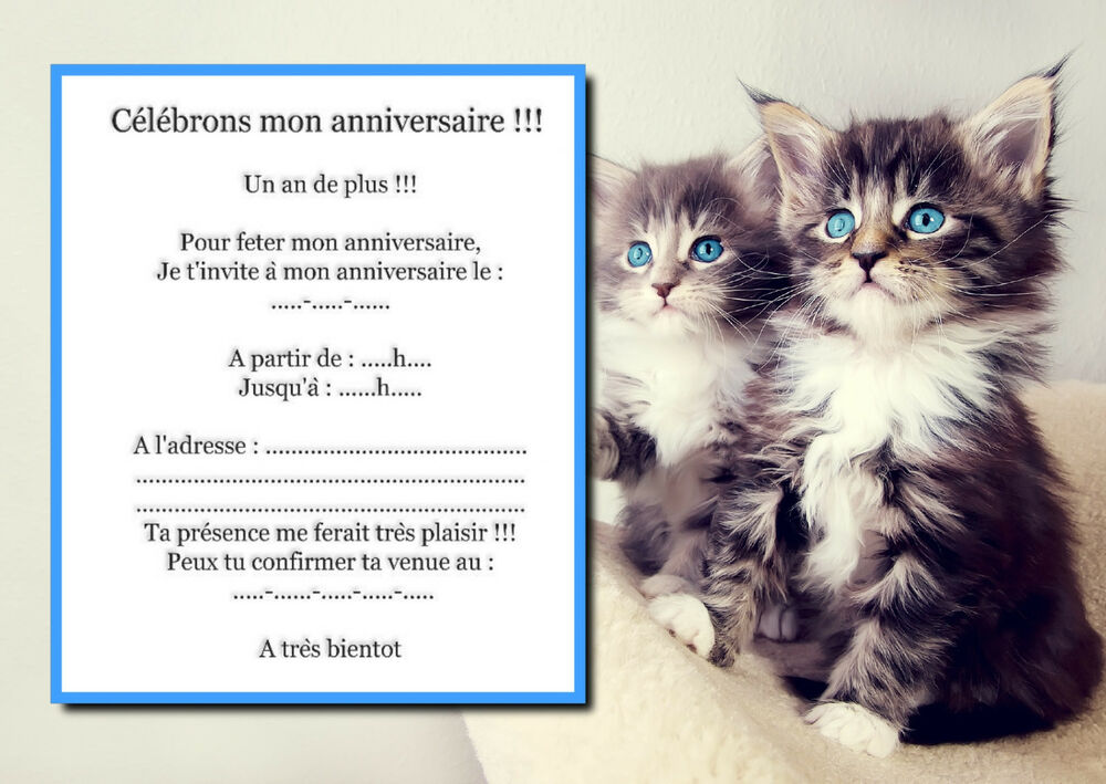 Gut bekannt Lot 5 cartes invitation anniversaire ANIMAUX CHAT ENVELOPPES OB | eBay LW51