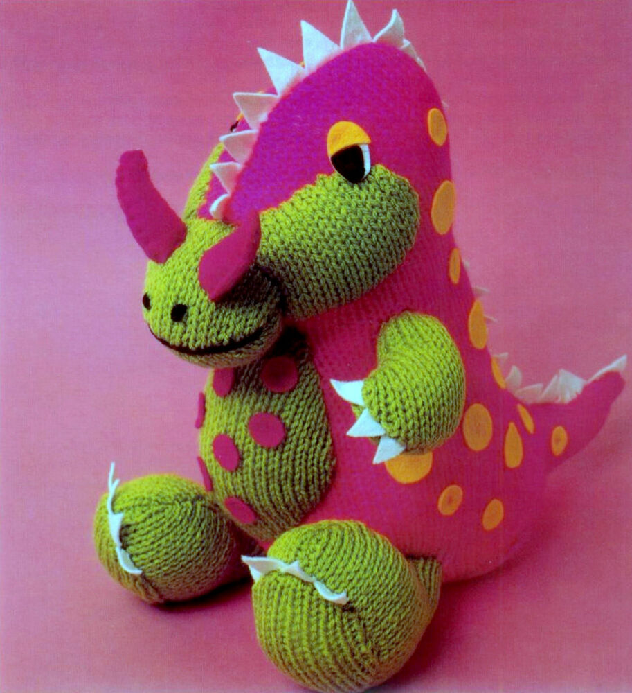 Knitting Pattern Dinosaur Toy : dinosaur toy dk knitting pattern eBay