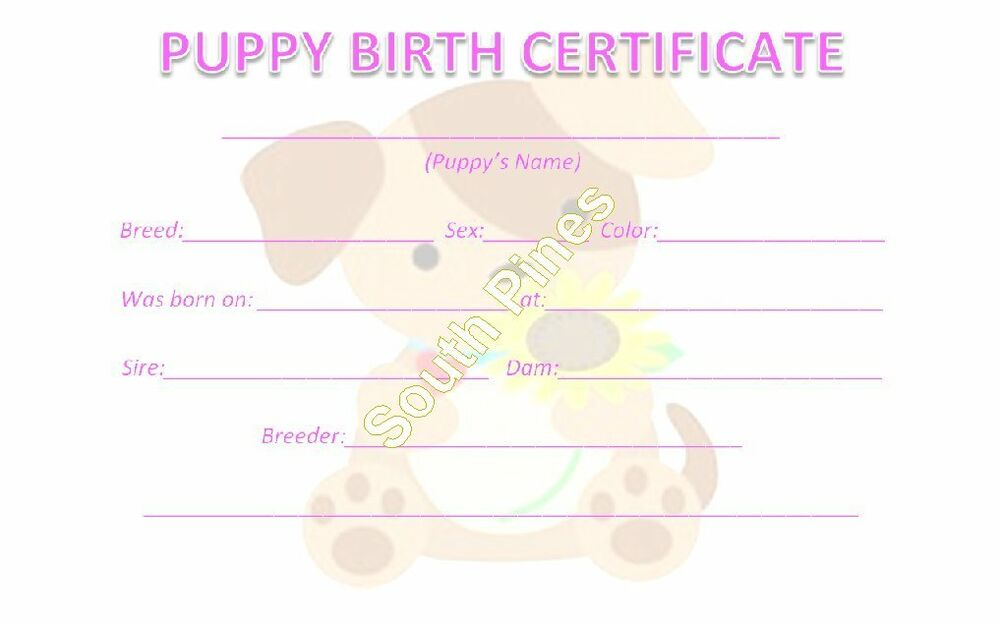 5 Puppy Birth Certificates Dog Litter Breeder Supplies