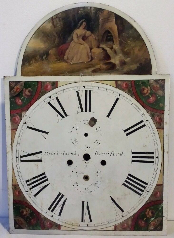 early 19th century brooksbank bradford tombstone form tall case clock face ebay. Black Bedroom Furniture Sets. Home Design Ideas