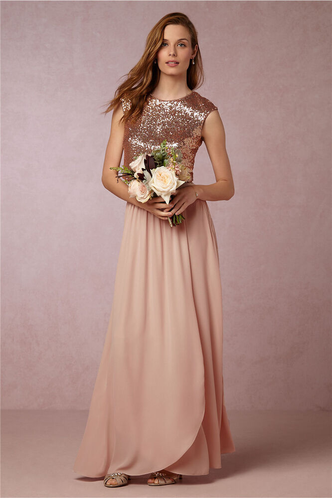 long rose gold sequin chiffon bridesmaid evening dresses
