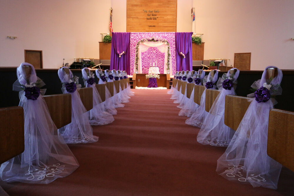 Purple wedding decorations chair bows pew bows satin for Wedding party decorations