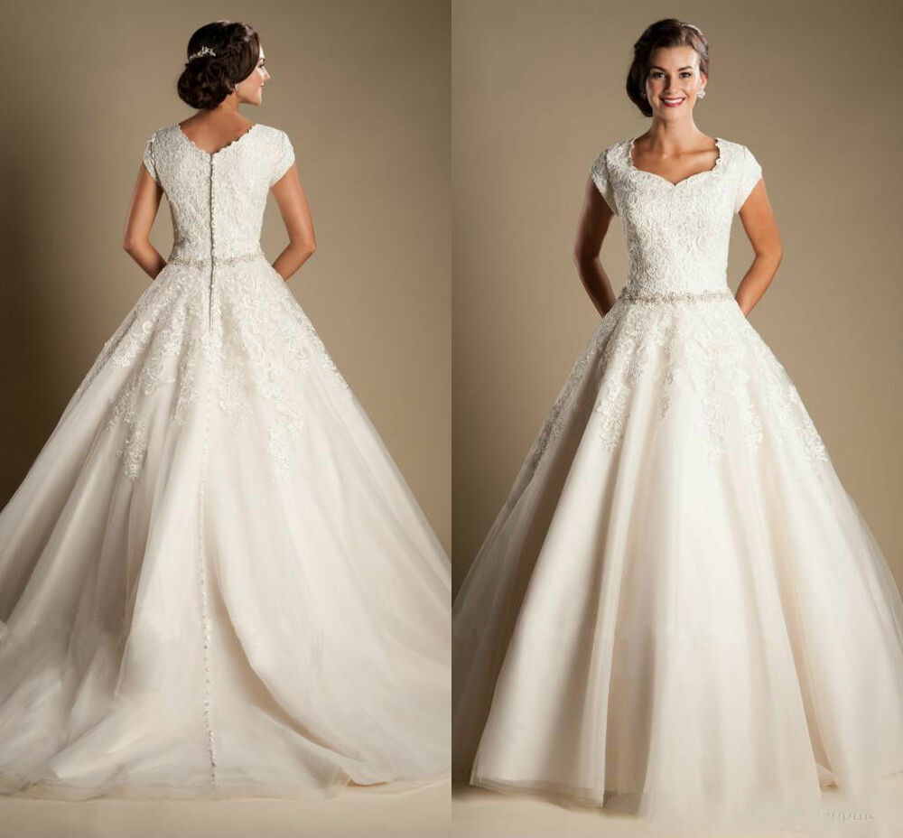 Modest cap sleeves lace wedding dresses a line princess for High low ball gown wedding dress