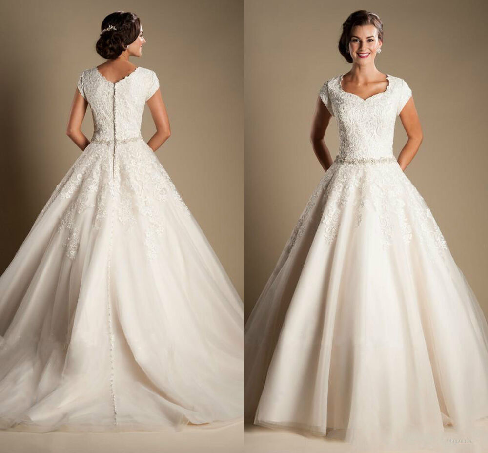 Modest cap sleeves lace wedding dresses a line princess for Modest wedding dresses under 500