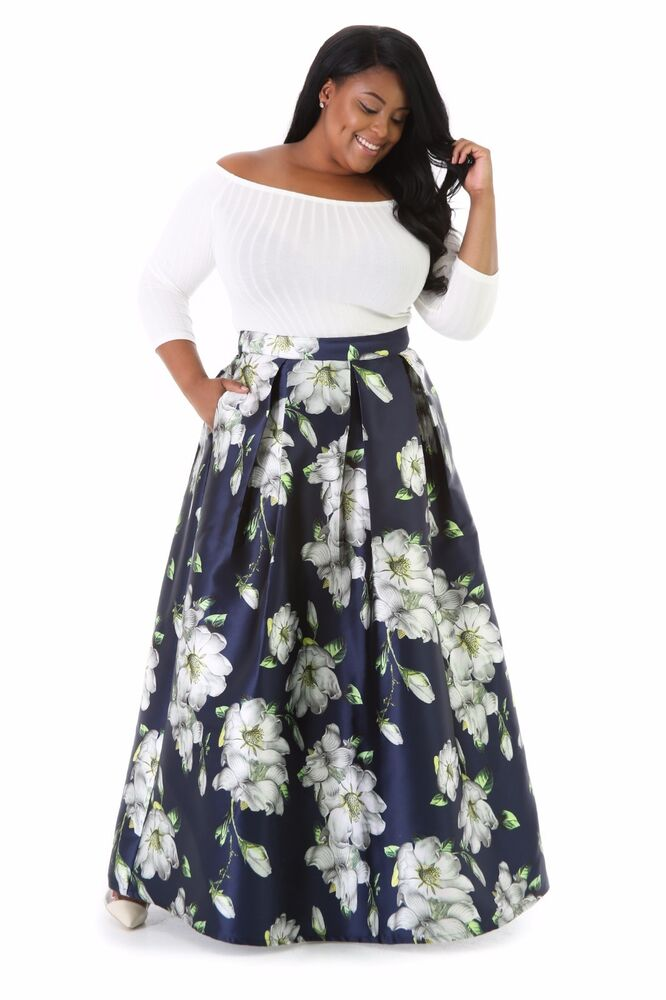 Womens Plus Size Zembla Floral Skirt, Floor Length skirt ...