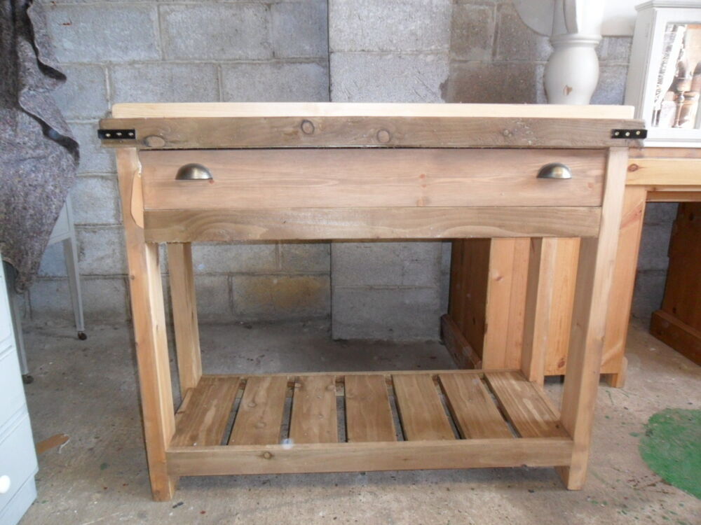 Solid Pine Rustic Butchers Block style Kitchen Island. Handmade eBay